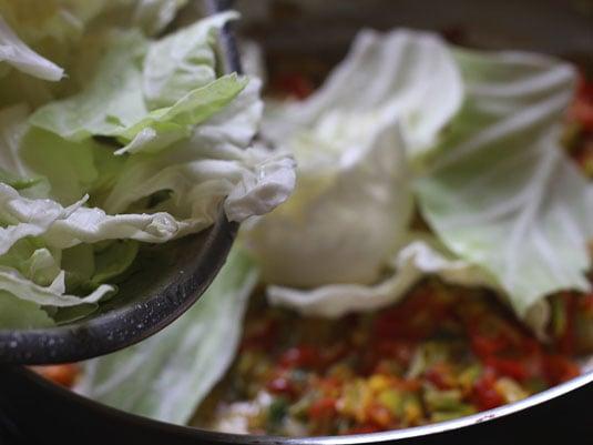 Incorporar el repollo, tapar la olla y dejar cocinar unos 5-7 minutos a fuego medio, revolver un poco.